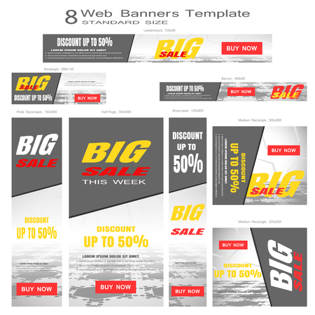 Vector set of web banners for Big Sale of standard sizes on the gray hexagon background with perspective.