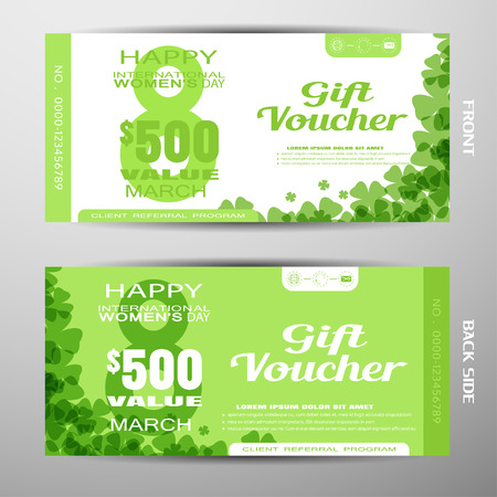 Set of vector discount voucher for 8th of March, International Womens Day on green background with green silhouette number, floral pattern and shadow.
