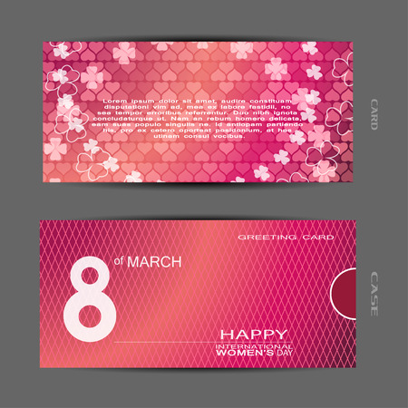 Greeting gradient pink card with heart and flower pattern and text