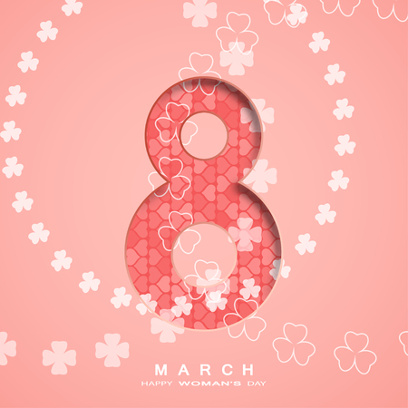 Vector paper art for Happy Women's Day light red poster with clover leaves arranged in a circles at the center and cuted out number eight with heart pattern.