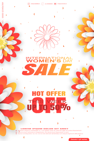 Vector 8 of March - International Womens Day Sale promotional poster on the white background with yellow and red flowers, text and abstract geometric pattern. Illustration