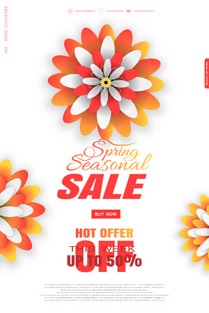 Seasonal spring sale vector promotional poster on the white background with yellow and red flowers and color text. Illustration