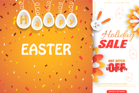 Orange Happy Easter poster with hanging eggs and holiday sale concept