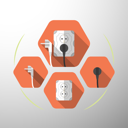Set of electric outlet and plug type F isolated icons with the inserted black plug on the red hexagon background with shadow.