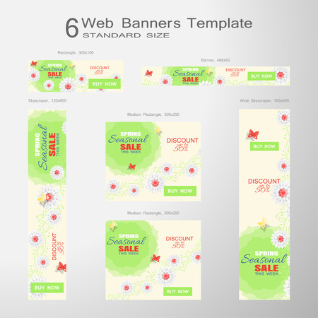 Vector set of 6 Web blue banners of Seasonal Sale of standard size on the gradient gray background.