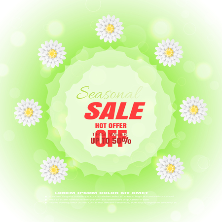 Vector advertising poster for Spring Seasonal Sale on the gradient green background with liefs, flowers and glow. Illustration