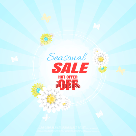 Vector poster of Seasonal Sale on the blue background with rayes, floral label in the center, text, butterflies and flowers. 矢量图像