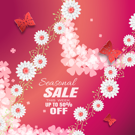 Vector advertising poster of Seasonal Sale on the gradient red background with curly branches of flowers, butterflies, text, leaf silhouettes, flowers.