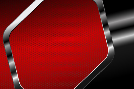 Abstract hexagon gradient red mesh background with hexagon metal frame for business.