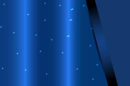 Vector greetings card of holidays on the abstract blue background with lights, waves and pocket.