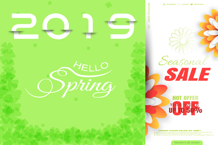 Vector promotional poster of Spring 2019 Seasonal Sale on the gradient green background with white liefs, glow and flowers.