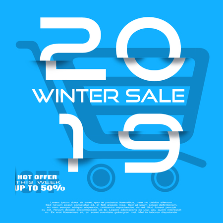 Winter 2019 Sale vector poster with glitch white numbers on the blue background with shoping cart silhouette.
