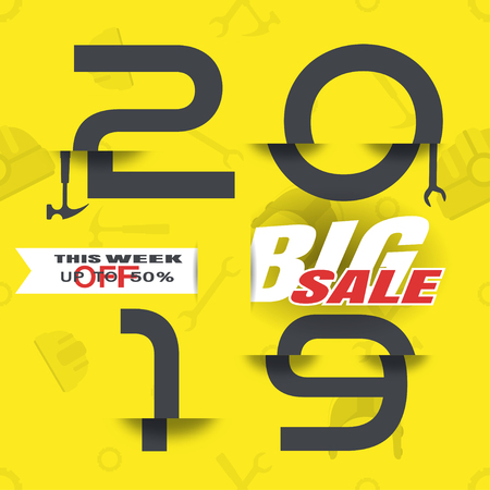 Vector poster of Happy Labor Day Big Sale 2019 with glitch gray numbers on the yellow background with pattern. Ilustração