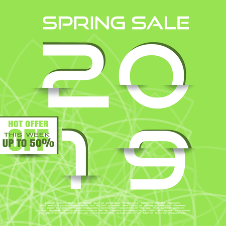 Spring 2019 Sale vector poster with glitch white numbers with shadow on the green background with abstract gometrical pattern.