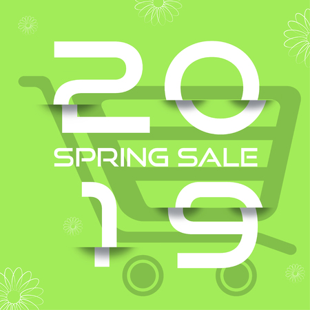 Spring 2019 Sale vector poster with glitch white numbers on the green background with shopping cart silhouette.