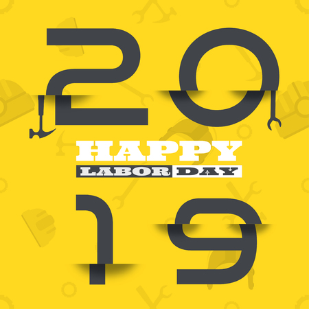 Vector poster of Happy Labor Day 2019 with glitch gray numbers on the yellow background with pattern. Ilustração