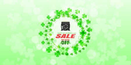 Vector Happy St. Patricks Day Sale promotional wide poster on the light gradient green background with circles of green leafs of clover, label of magic cauldron and text at the ceneter.