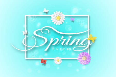 Vector wide poster of Spring is in the air on the gradient blue background with square frame, glow, flowers and butterflies arrange on the center. Illustration