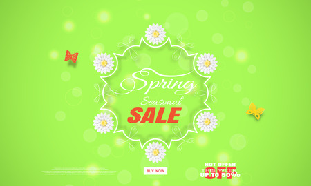 Vector wide promotional poster of Spring Sale on the gradient green background with glow, flowers and butterflies arrange on the center.
