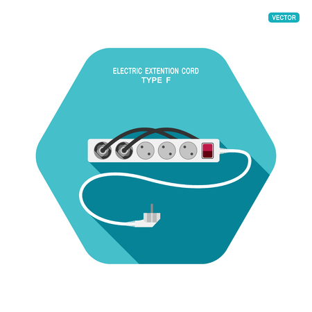 Vector hexagon icon of modern five socket electric extension cord type F with switch, two plug connected and shadow on the turquoise background. Illustration