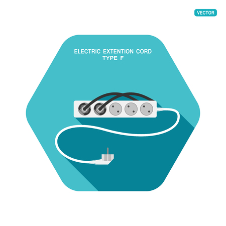 Vector hexagon icon of modern five socket electric extension cord type F with two plug connected and shadow on the turquoise background.
