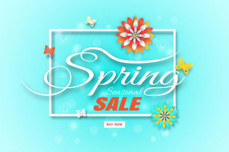 Vector wide promotional poster of Spring Sale on the gradient green background with square frame, flowers and butterflies arrange on the center. Illustration