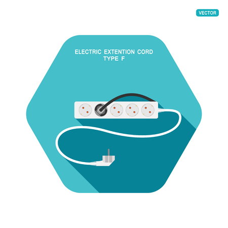 Vector hexagon icon of modern five socket electric extension cord type F with one plug connected on the turquoise background with shadow.