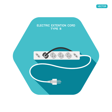 Vector hexagon icon of modern electric extension cord type B with different sockets on the turquoise background with shadow.