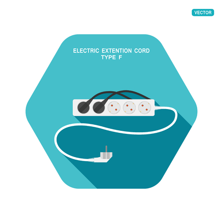 Vector hexagon icon of modern five socket electric extension cord type F with two plug connected on the turquoise background with shadow. Ilustração