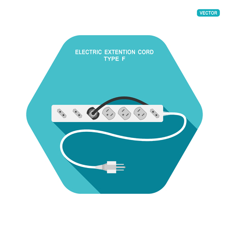 Vector hexagon icon with shadow of modern electric extension cord type B with different sockets on the turquoise background. Illustration