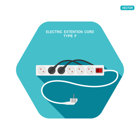 Vector hexagon icon of modern six socket electric extension cord type F with red switch, two plug connected and shadow on the turquoise background.