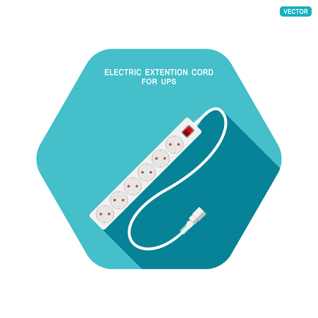 Vector hexagon icon of modern six socket electric extension cord for UPS with red switch and shadow on the turquoise background. Illustration