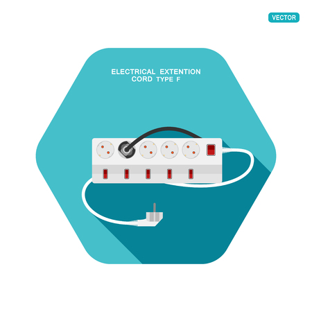 Vector hexagon icon of modern five socket electrical extension cord type F with six switches, one plug connected on the turquoise background with shadow. Illustration