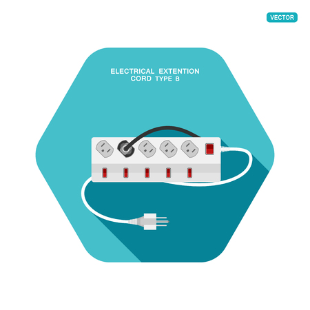 Vector hexagon icon of modern five socket electrical extension cord type B with six switches, one plug connected on the turquoise background with shadow. Illustration