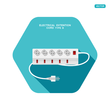 Vector hexagon icon of modern five socket electrical extension cord type B with six switches on the turquoise background with shadow. Ilustração