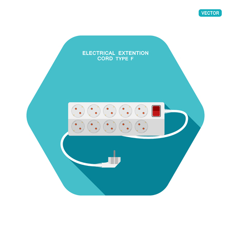 Vector hexagon icon of modern ten socket electrical extension cord type F with red switch and shadow on the turquoise background. Illustration