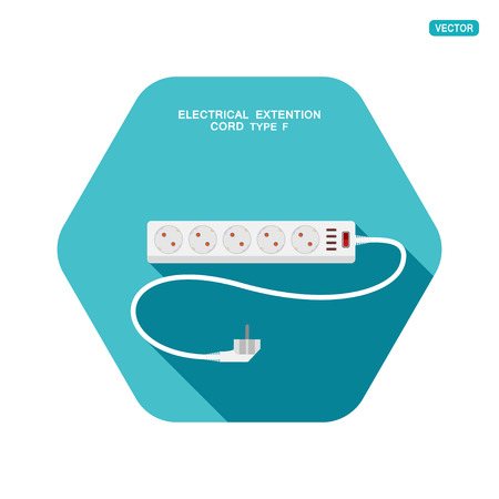 Vector hexagon icon of modern five socket electrical extension cord type F with red switch, four usb connectors and shadow on the turquoise background. Illustration