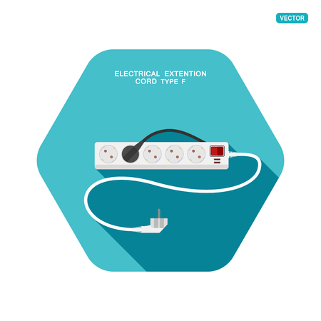 Vector hexagon icon of modern five socket electrical extension cord type F with red switch, two usb connectors and shadow on the turquoise background.