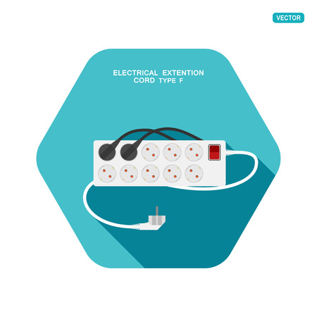 Vector hexagon icon of modern ten socket electrical extension cord type F with red switch, two plug connected and shadow on the turquoise background.