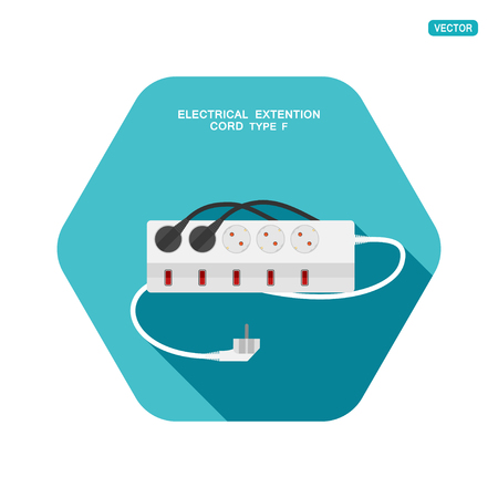 Vector hexagon icon of modern five socket electrical extension cord type F with five switches, two plug connected on the turquoise background with shadow.
