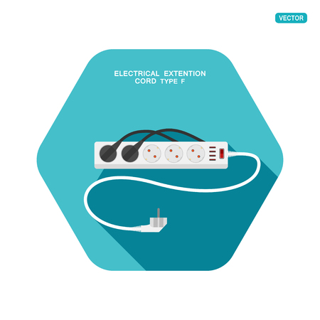 Vector hexagon icon of modern five socket electrical extension cord type F with red switch, four usb ports, two plug connected and shadow on the turquoise background.