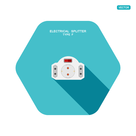 Vector hexagon icon of modern electrical splitter type F with three different socket, red switch and shadow on the turquoise background.