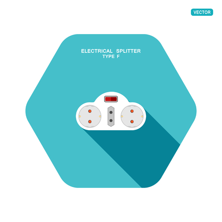 Vector hexagon icon of modern electrical splitter type F with red switch, three different socket and shadow on the turquoise background. Banque d'images - 120095858