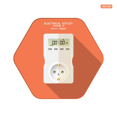 Vector isolated icon of white electrical socket type F with digital timer, four buttons and LCD screen on the red hexagon background with shadow for use in Europe.