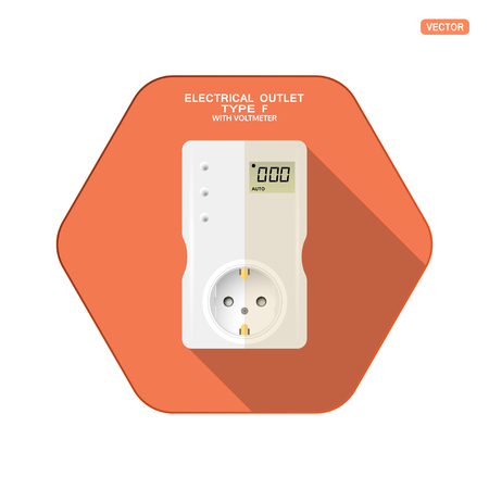 Vector isolated icon of white electrical socket type F with digital voltmeter, three buttons on the red hexagon background with shadow for use in Europe.