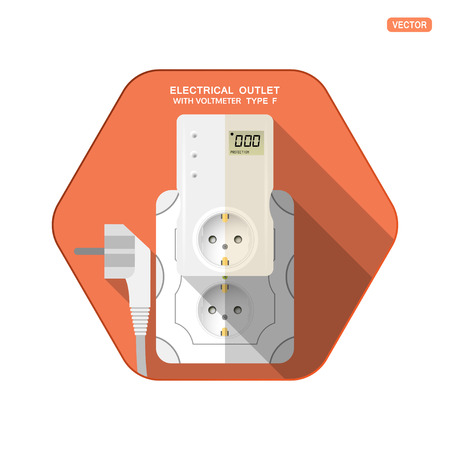 Vector isolated icon of white electrical socket type F with digital voltmeter and LCD screen insert in outlet, electrical plug on the red hexagon background with shadow for use in Europe.