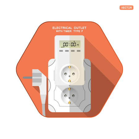 Vector isolated icon of white electrical socket type F with digital timer and LCD screen insert in outlet, electrical plug on the red hexagon background with shadow for use in Europe.