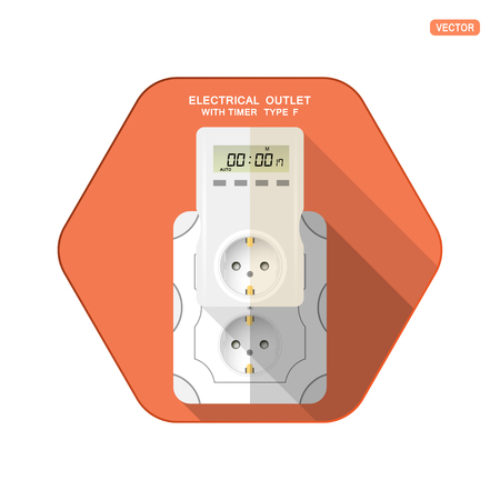 Vector isolated icon of white electrical socket type F with digital timer and LCD screen insert in outlet on the red hexagon background with shadow for use in Europe.