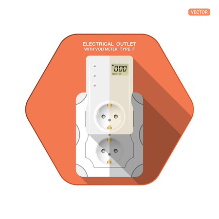 Vector isolated icon of white electrical socket type F with digital voltmeter and LCD screen insert in outlet on the red hexagon background with shadow for use in Europe. Illustration