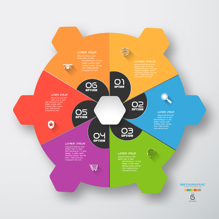 Vector infographic of color round form and dark gray segments cut from paper with text and color icons with long shadows on the gradient gray background.